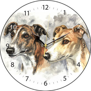 Greyhound Pair Dog Clock