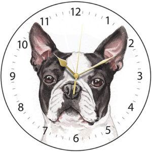 Boston Terrier Dog Clock