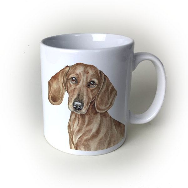 Red Dachshund dog mug