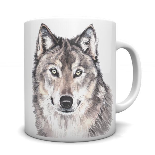 Wolf Ceramic Mug by Waggydogz