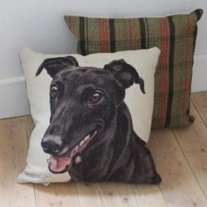 Black Greyhound Dog Cushion