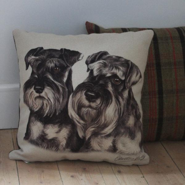 Miniature Schnauzer Pair Dog Cushion