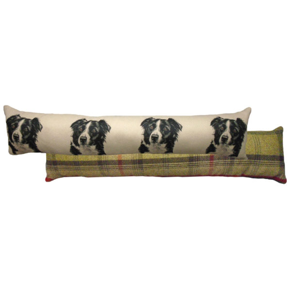 Draught Excluder featuring reproduction of a Border Collie from original watercolour painting by Christine Varley.