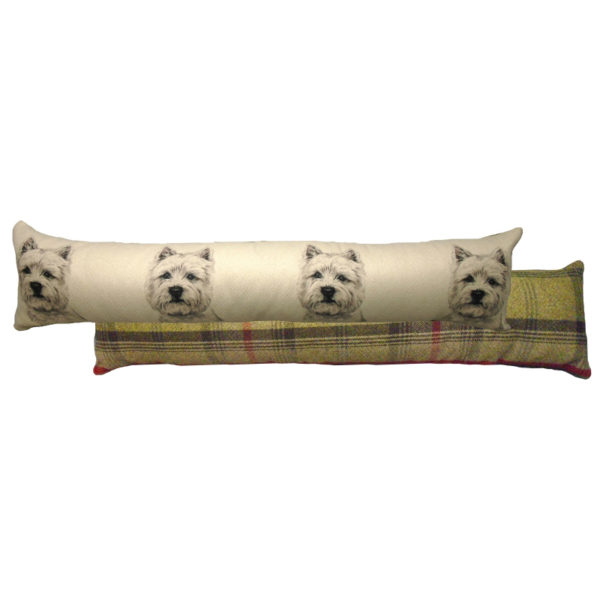 Draught Excluder featuring reproduction of a West Highland Terrier from original watercolour painting by Christine Varley.