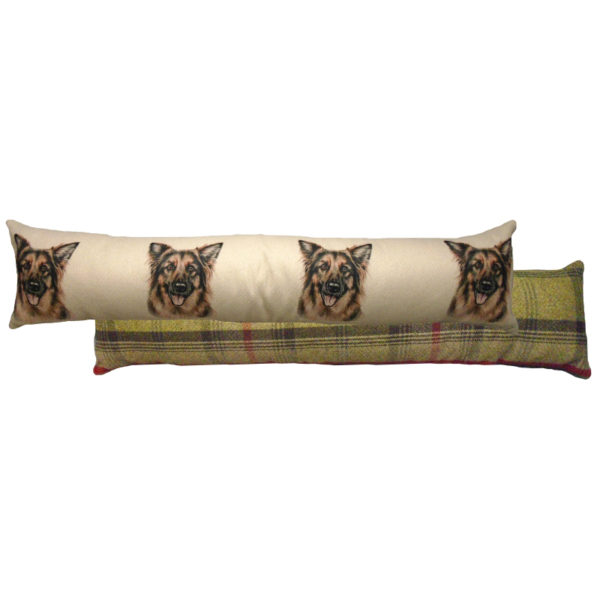 Draught Excluder featuring reproduction of a German Shepherd from original watercolour painting by Christine Varley.