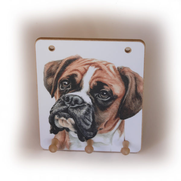 Boxer Dog peg hook hanging key storage board