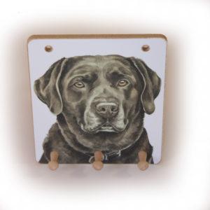 Chocolate Labrador Dog peg hook hanging key storage board