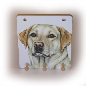 Golden Labrador Dog peg hook hanging key storage board