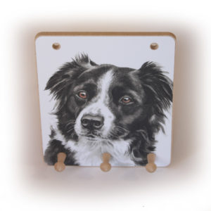 Border Collie Dog peg hook hanging key storage board