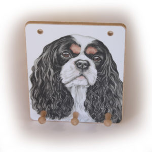 Cavalier King Charles Spaniel Dog peg hook hanging key storage board