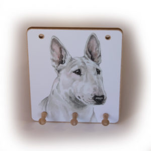 English Bull Terrier Dog peg hook hanging key storage board