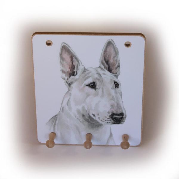English Bull Terrier Dog peg hook hanging key storage board
