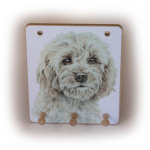 Cockapoo Dog peg hook hanging key storage board