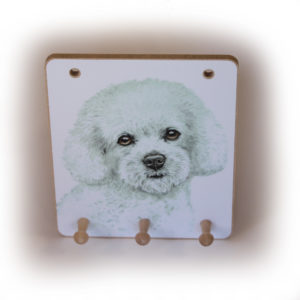 Bichon Frise Dog peg hook hanging key storage board
