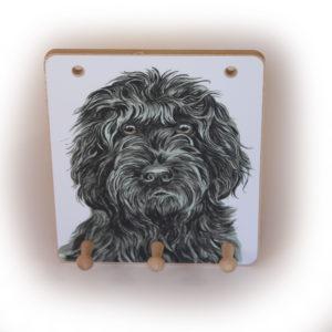 Black Cockapoo Dog peg hook hanging key storage board