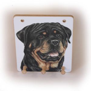 Rottweiler Dog peg hook hanging key storage board