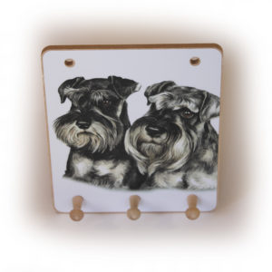 Miniature Schnauzer Pair Dog peg hook hanging key storage board
