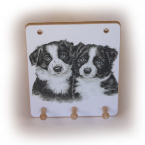 Border Collie Puppies peg hook hanging key storage board