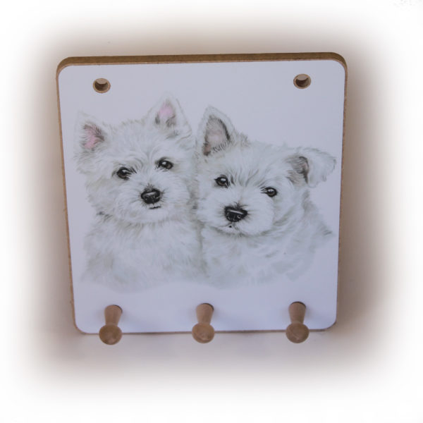 West Highland White Terrier Puppies peg hook hanging key storage board